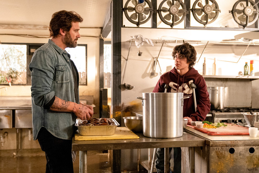"COUNCIL OF DADS -- ""Fight Or Flight"" Episode 110 -- Pictured: (l-r) Clive Standen as Anthony Lavelle, Emjay Anthony as Theo Perry -- (Photo by: Seth F. Johnson/NBC)"