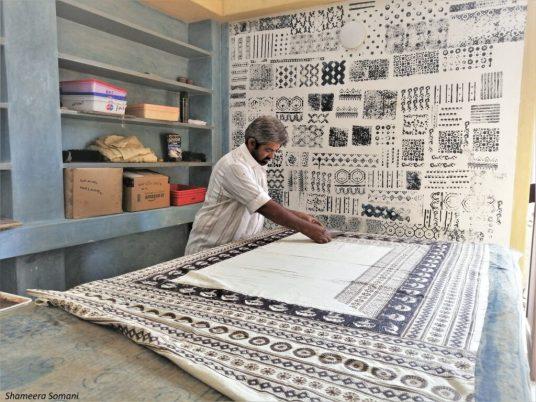 Ajrak Artisan doing Ajrak Block Printing, Ajrakhpur