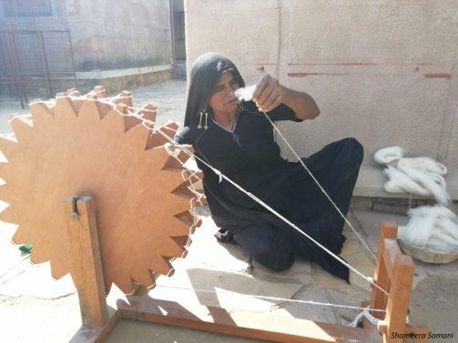 Women Spinning Kala Cotton at Khamir
