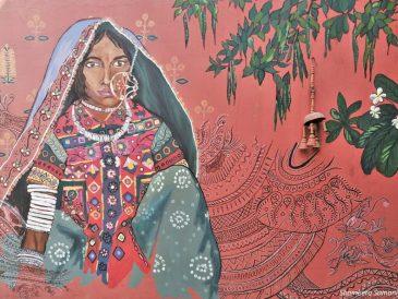 Tribal Woman's Painting at Khamir. Kukma Village