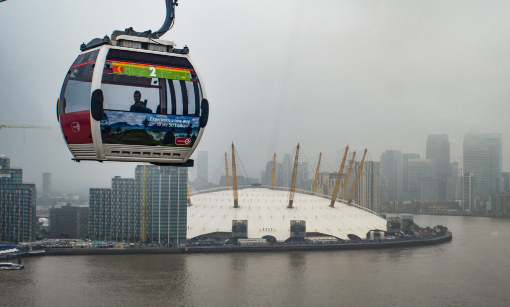 Emirates Air Line Cable Car with O2 Arena in background, Greenwich
