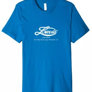 Louvis Char-Broil 1970's retro premium t-shirt in royal blue