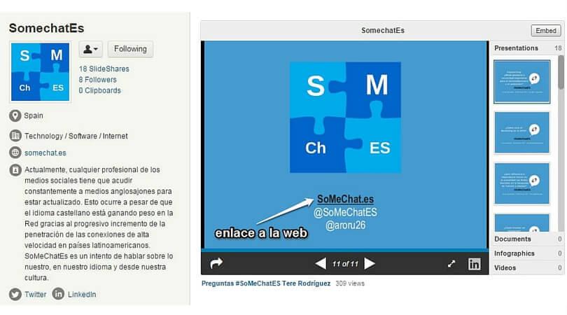 Ventajas Slideshare Enlaces a webs