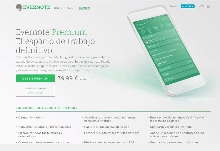 Evernote Premium - Agenda digital