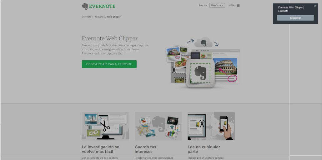 Web Clipper como herramienta de la agenda digital Evernote 1
