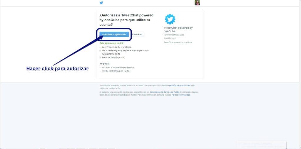Autorizar Tweetchat - Twitter chats en español