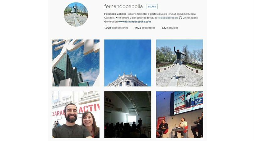 Cuenta de Fernando Cebolla Instagram