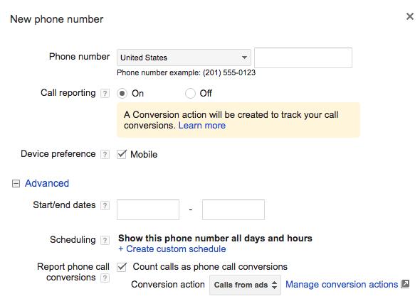 Adwords para móviles extensión de llamada