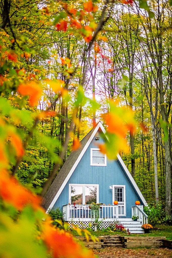 My a-frame home in the fall in Michigan.