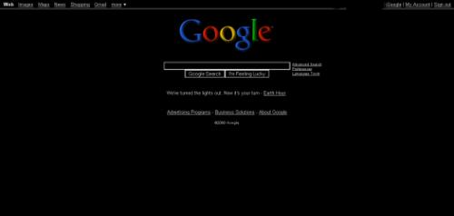 Black Google Homepage