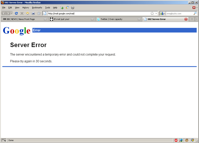 gmail 502 Server Error
