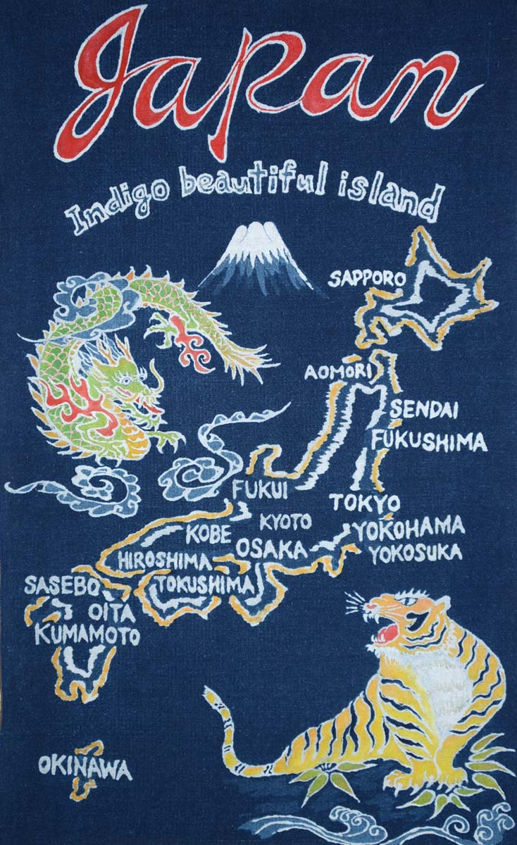 藍染筒描「Japan indigo beautiful island」