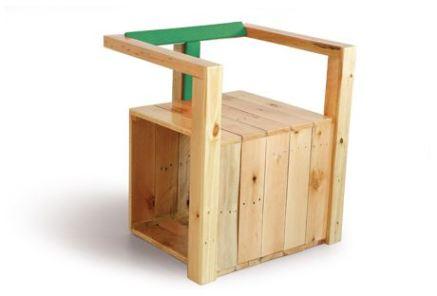 Móveis reciclados - Cadeira fixa cubo