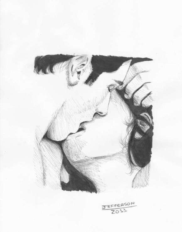 Desenho de casal se beijando