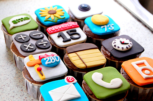 Cupcakes no formato dos ícones do iOS da Apple