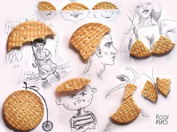 Desenhos com objetos do cotidiano - bolacha