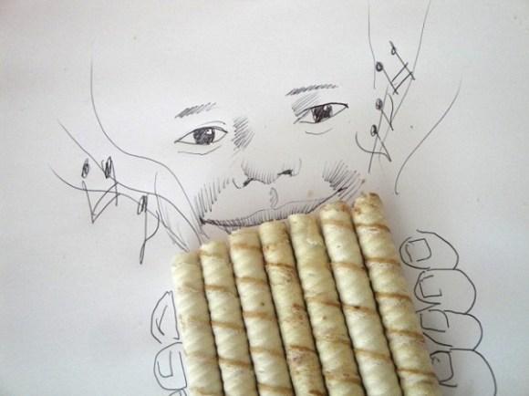 Desenhos com objetos do cotidiano - canudo