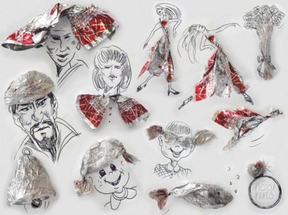 Desenhos com objetos do cotidiano - papel de bala