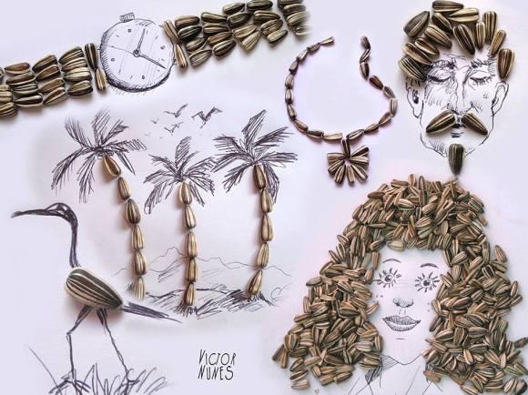 Desenhos com objetos do cotidiano - semente de girassol