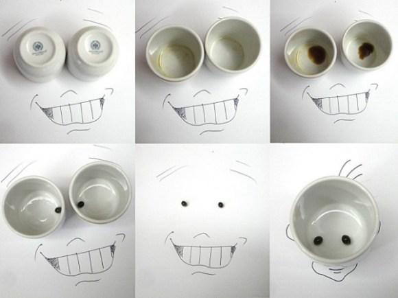 Desenhos com objetos do cotidiano - xícara