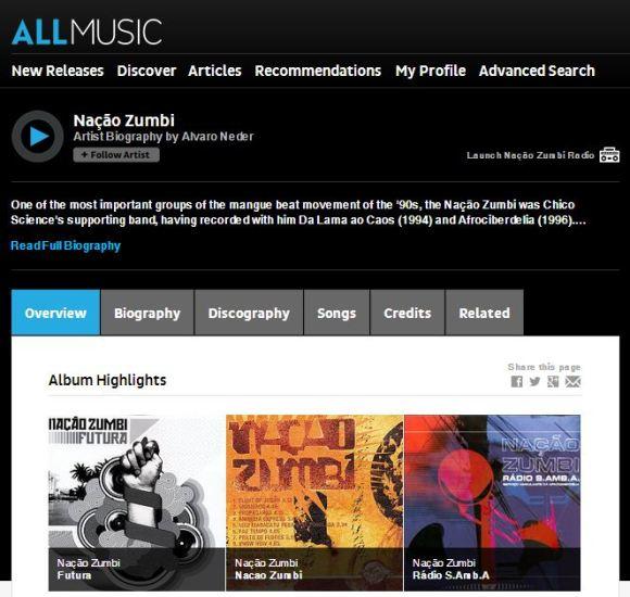 Descobrir novas músicas - Allmusic