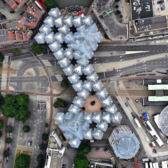 Casas cúbicas em Rotterdam - Holanda - Fotos aéreas