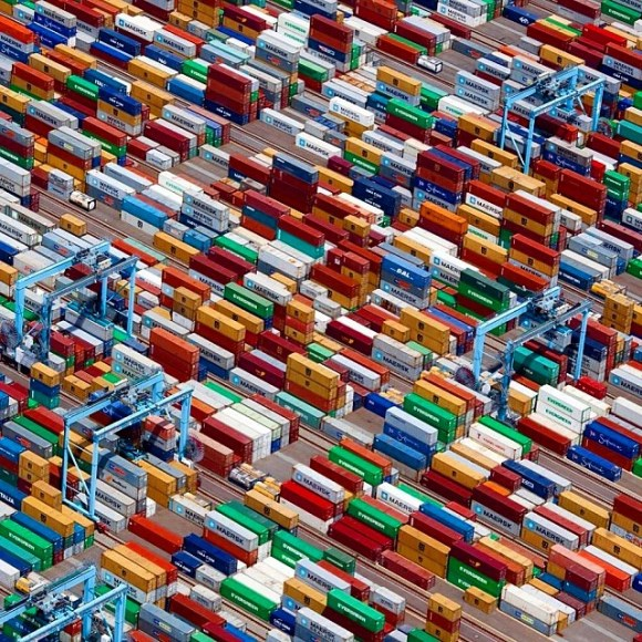 Contêineres em Portsmouth - Virginia - EUA - Fotos aéreas
