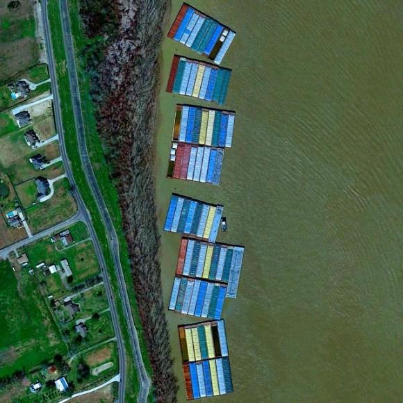 Rio Mississippi em Nova Orleans - EUA - Fotos aéreas