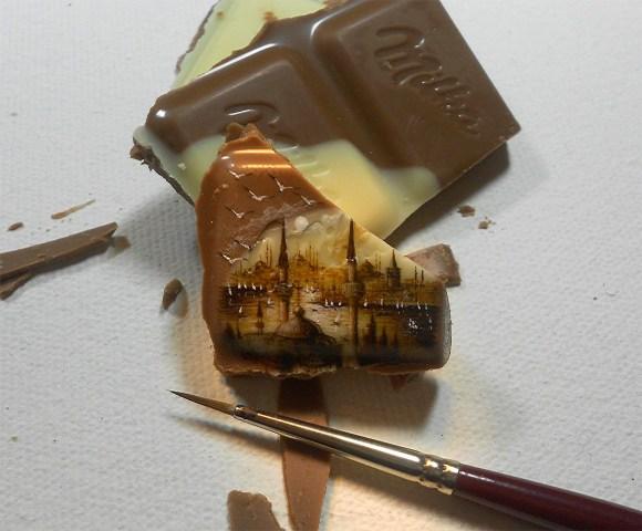 Pequenas paisagens pintadas em alimentos 1