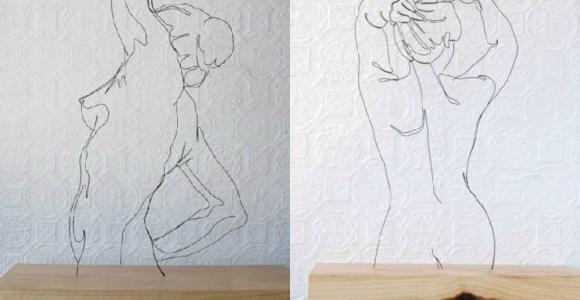 Minimalismo e emotividade são características das esculturas de arame desse artista