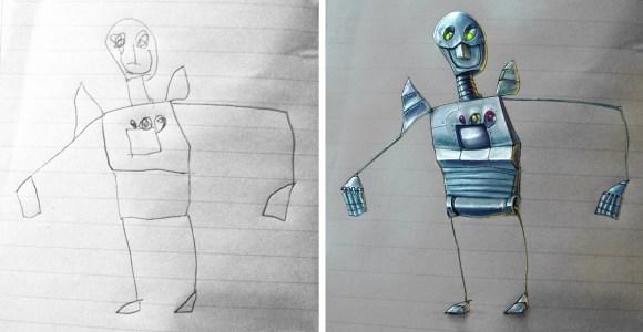 Artista transforma os desenhos do filho pequeno em incríveis ilustrações 3D