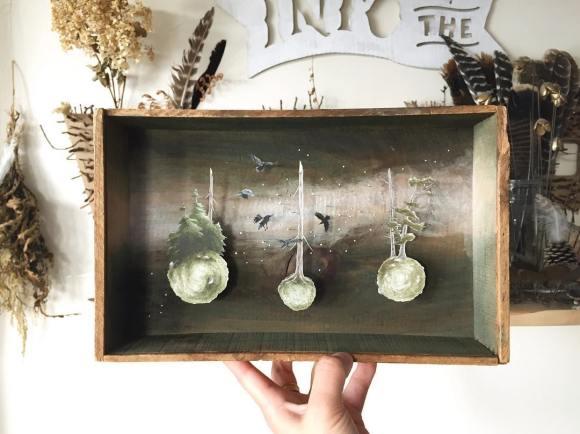 Arte - mundos em caixas de madeira 9
