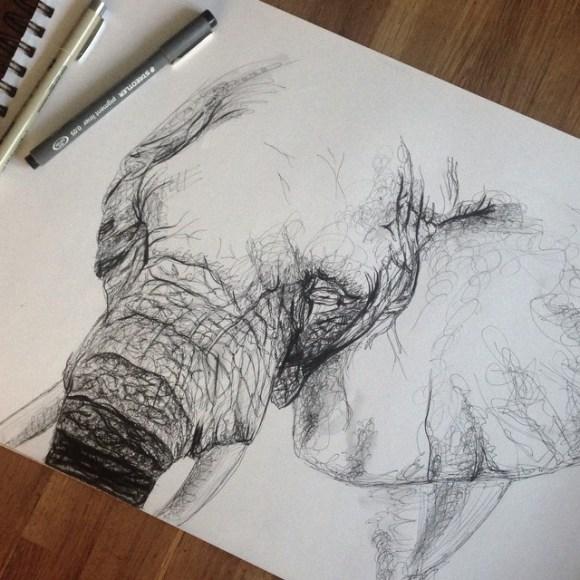 Elefante por fazer - pontilhismo
