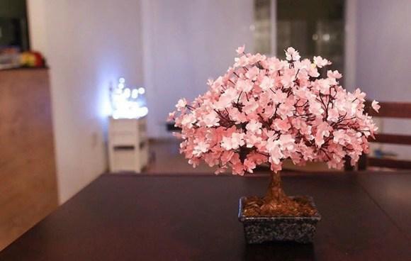Bonsair rosa claro sobre mesa