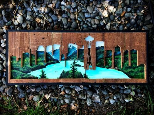 Paisagem de Seattle vazada com lago