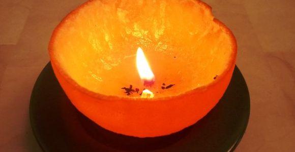 Aprenda a fazer uma vela com a casca da laranja