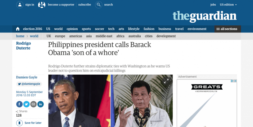 NOT HOLDING ANYTHING BACK: The President of the Philippines addresses Barack Obama