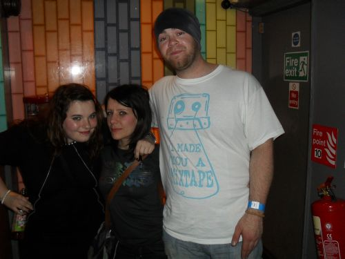 luisa, someone who is smaller than Luisa, me (during the gig, getting sweatier!)