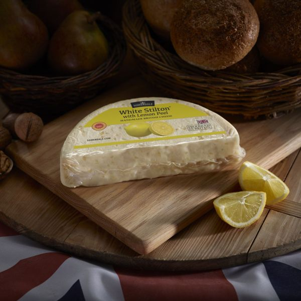 Somerdale White Stilton with Lemon Peel - half deli wheel