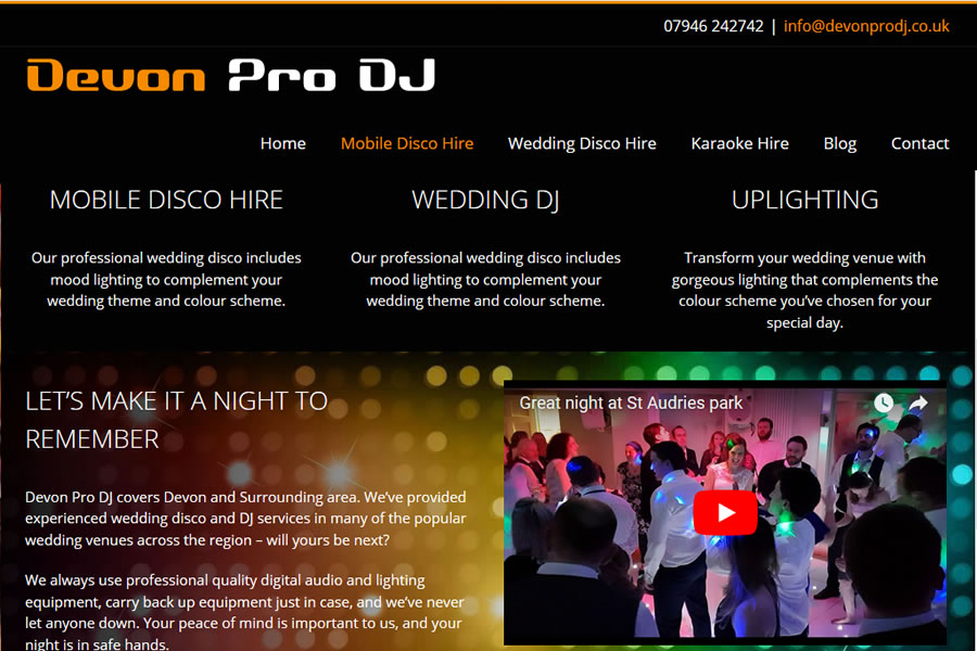 Mobile DJ website Designers in Somerset and Devon