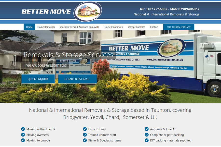 Professional Website Upgrade for Removal Company in Taunton, Minehead
