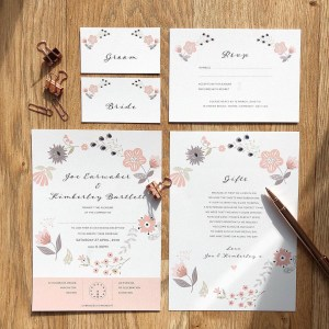 Modern floral wedding stationery flatlay