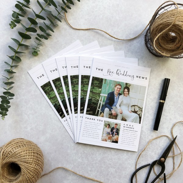 Personalised Wedding News Thank You Card Flatlay