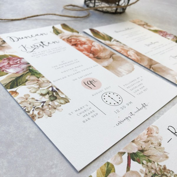 Pink Floral Wedding Invitation Close Up