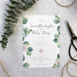 Floral Evening Invitation Flatlay
