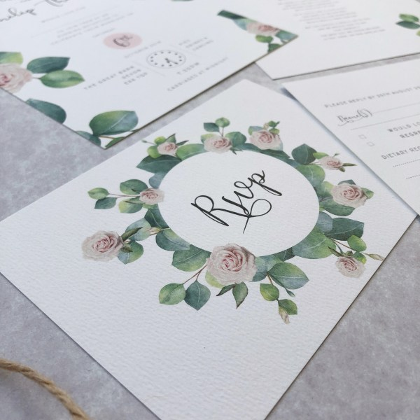 Close up of wedding RSVP