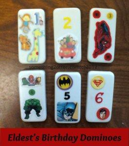 Eldest's Birthday Dominoes