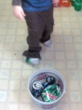 Lil' Red crush cans chores