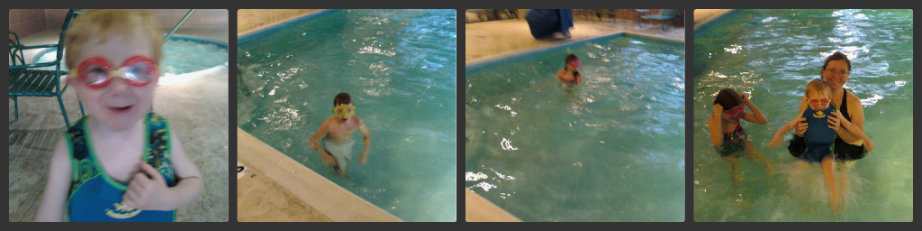 swimming in November at comfort inn hotel pool
