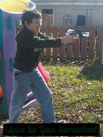 Eldest with Pellet Gun {Spcie Up Your Homeschool}